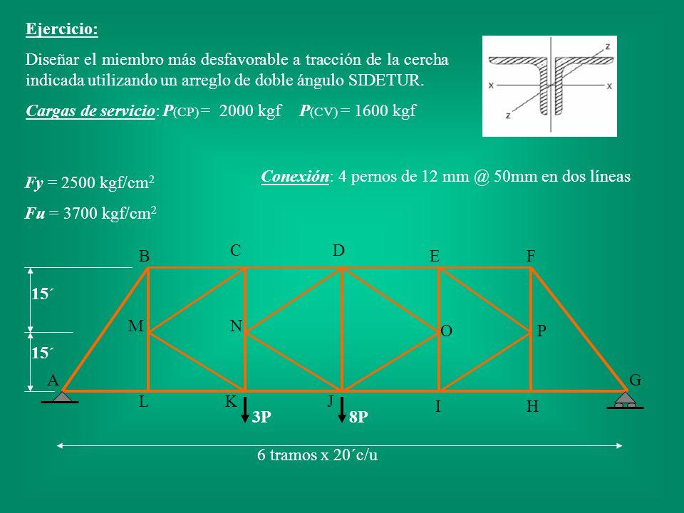 Ejercicio: Diseñar el miembro más desfavorable a tracción de la cercha indicada utilizando un arreglo de doble ángulo SIDETUR.
