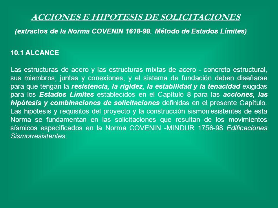ACCIONES E HIPOTESIS DE SOLICITACIONES