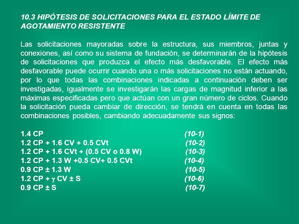 10.3 HIPÓTESIS DE SOLICITACIONES PARA EL ESTADO LÍMITE DE