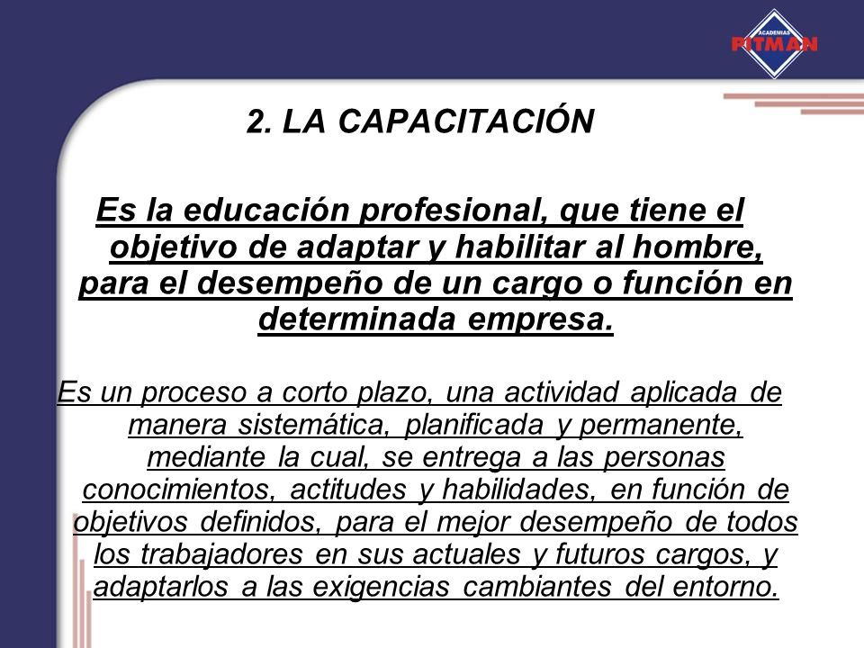 2. LA CAPACITACIÓN