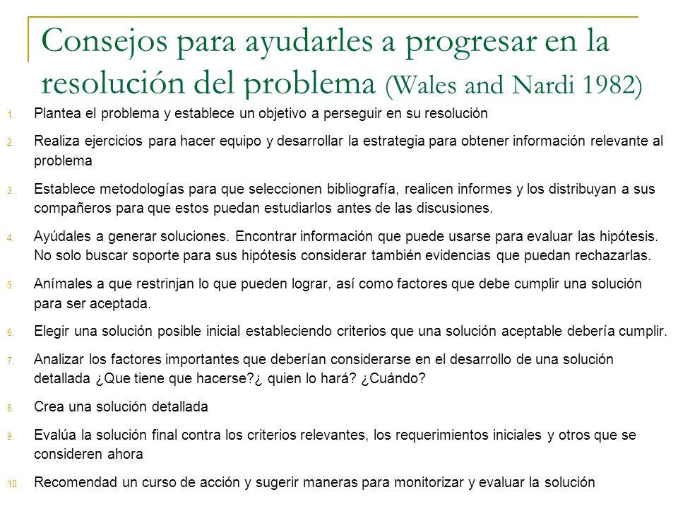 Consejos para ayudarles a progresar en la resolución del problema (Wales and Nardi 1982)
