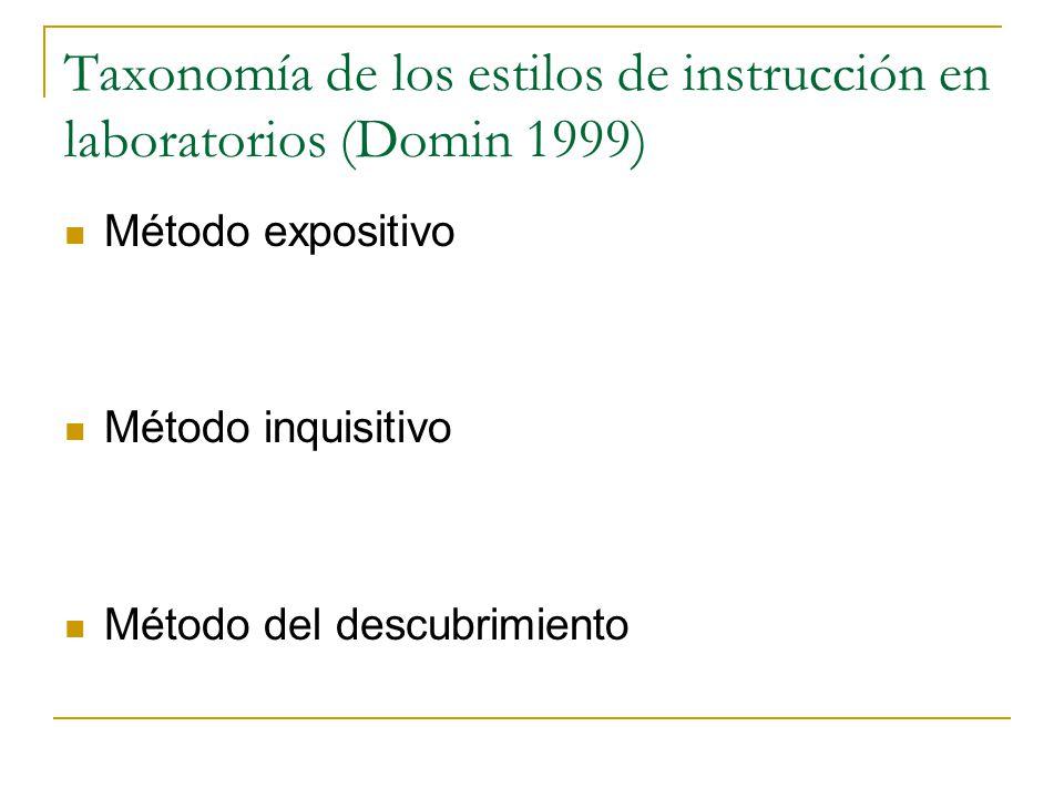 Taxonomía de los estilos de instrucción en laboratorios (Domin 1999)