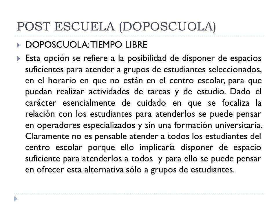 POST ESCUELA (DOPOSCUOLA)