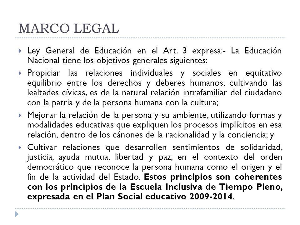 MARCO LEGAL Ley General de Educación en el Art. 3 expresa:- La Educación Nacional tiene los objetivos generales siguientes: