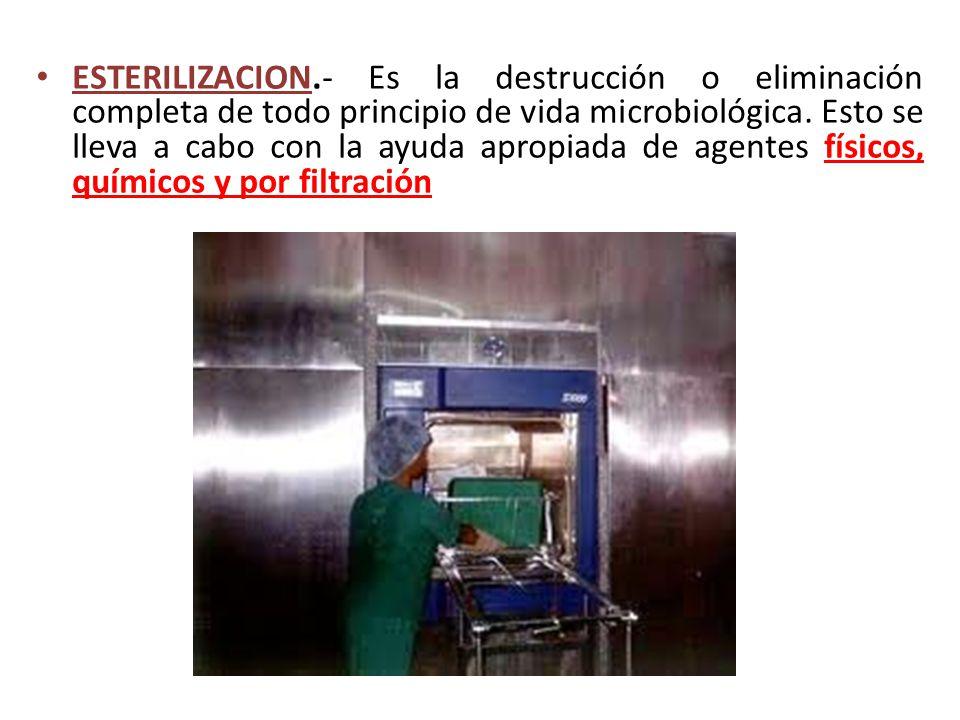 ESTERILIZACION.- Es la destrucción o eliminación completa de todo principio de vida microbiológica.