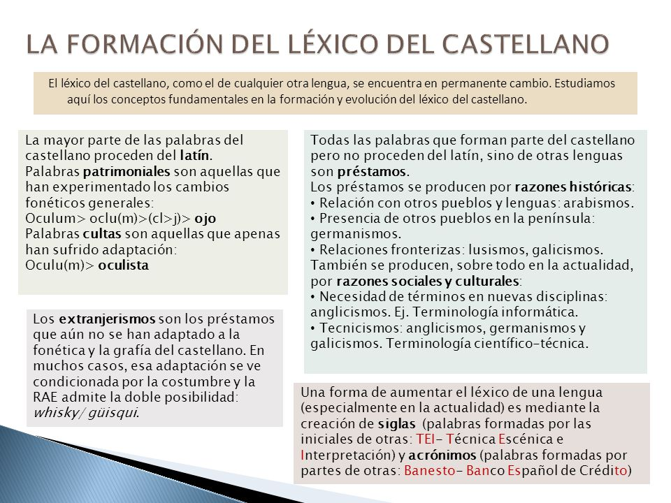 LA FORMACIÓN DEL LÉXICO DEL CASTELLANO