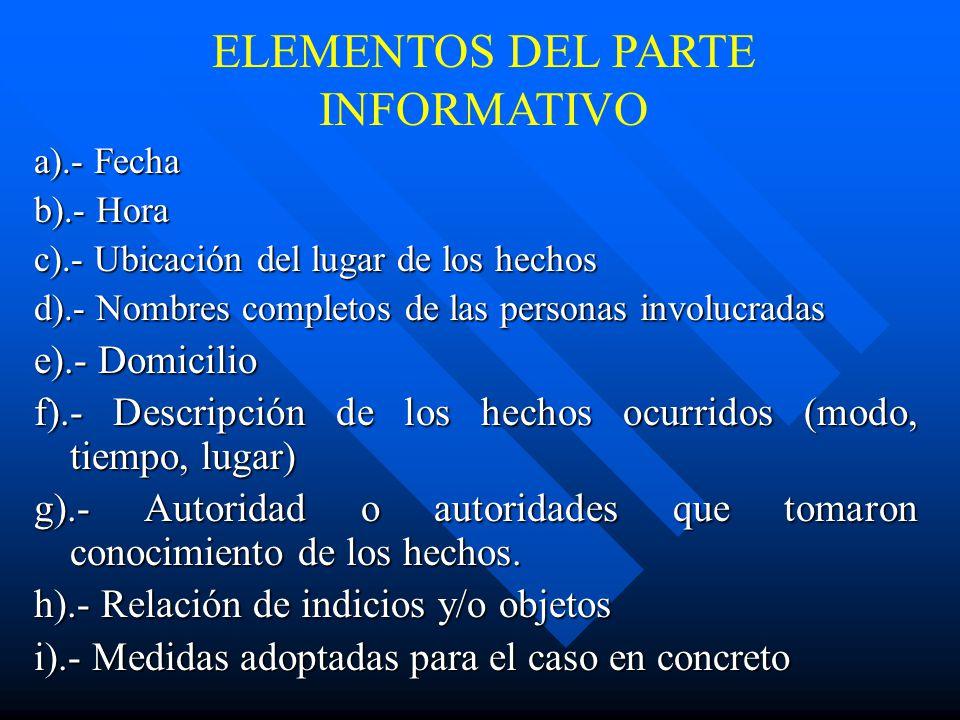 ELEMENTOS DEL PARTE INFORMATIVO