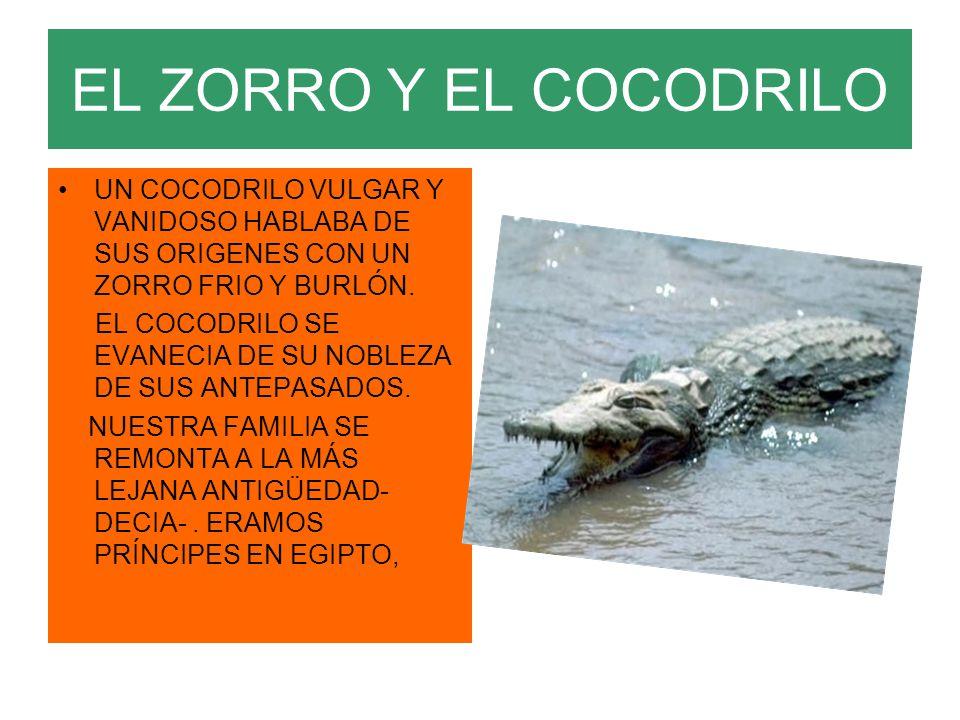 EL ZORRO Y EL COCODRILO UN COCODRILO VULGAR Y VANIDOSO HABLABA DE SUS ORIGENES CON UN ZORRO FRIO Y BURLÓN.