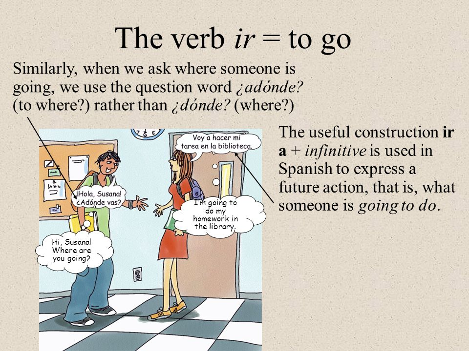 The verb ir = to go Similarly, when we ask where someone is going, we use the question word ¿adónde (to where ) rather than ¿dónde (where )