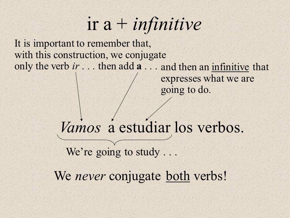 ir a + infinitive Vamos a estudiar los verbos.