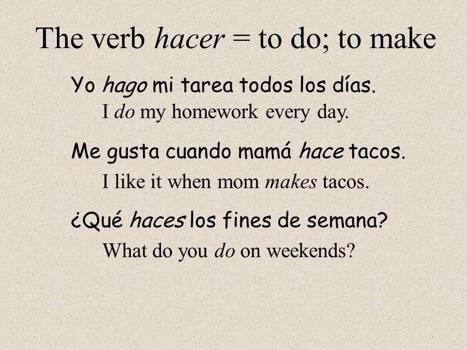 The verb hacer = to do; to make
