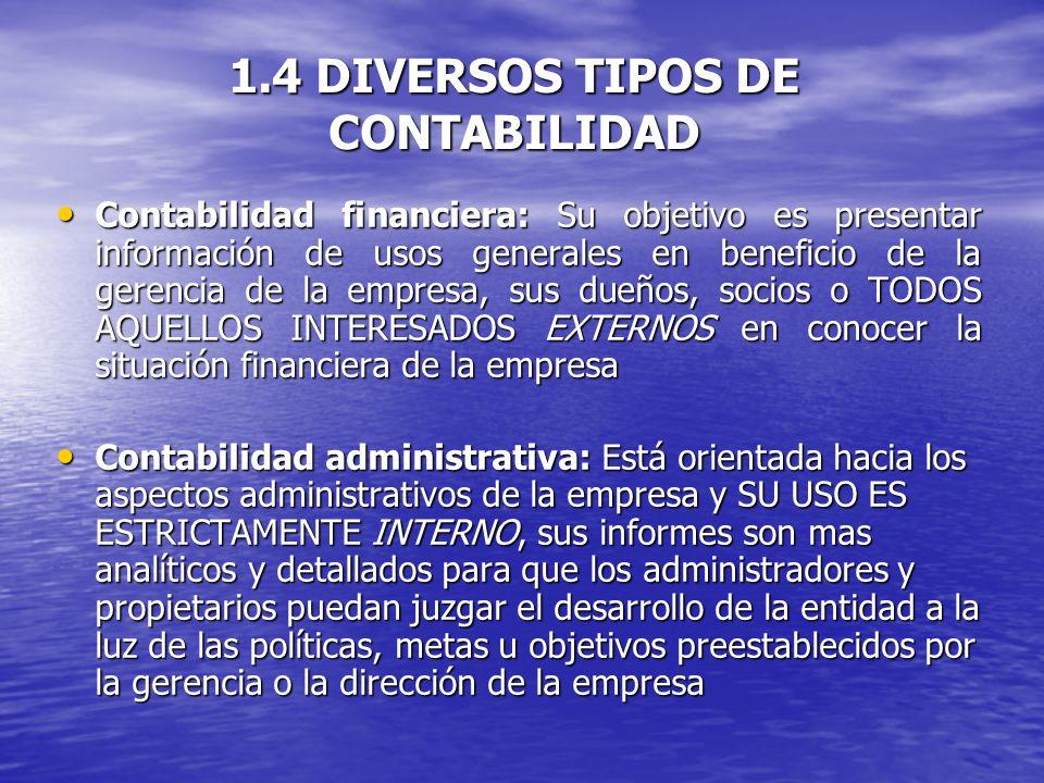 1.4 DIVERSOS TIPOS DE CONTABILIDAD
