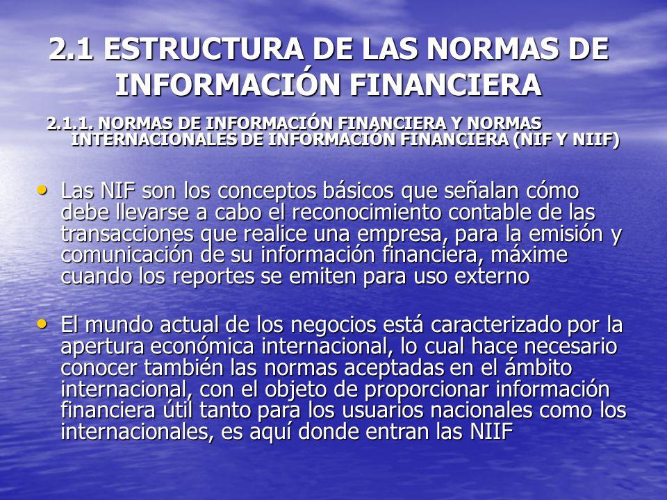 2.1 ESTRUCTURA DE LAS NORMAS DE INFORMACIÓN FINANCIERA