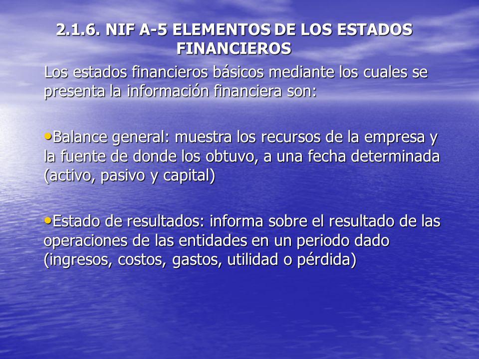 2.1.6. NIF A-5 ELEMENTOS DE LOS ESTADOS FINANCIEROS
