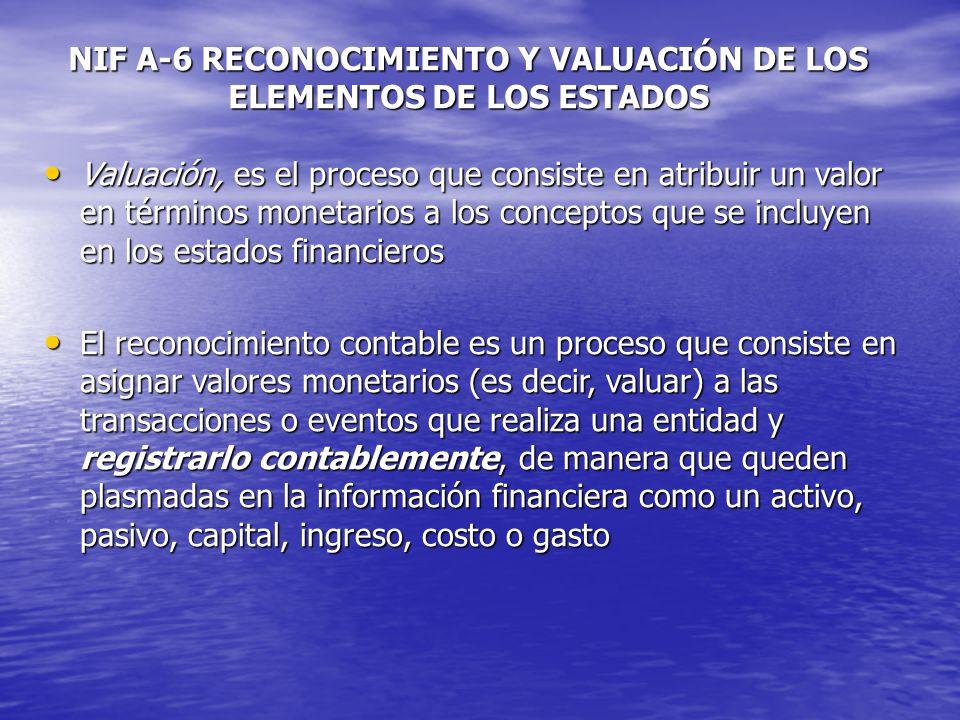 NIF A-6 RECONOCIMIENTO Y VALUACIÓN DE LOS ELEMENTOS DE LOS ESTADOS