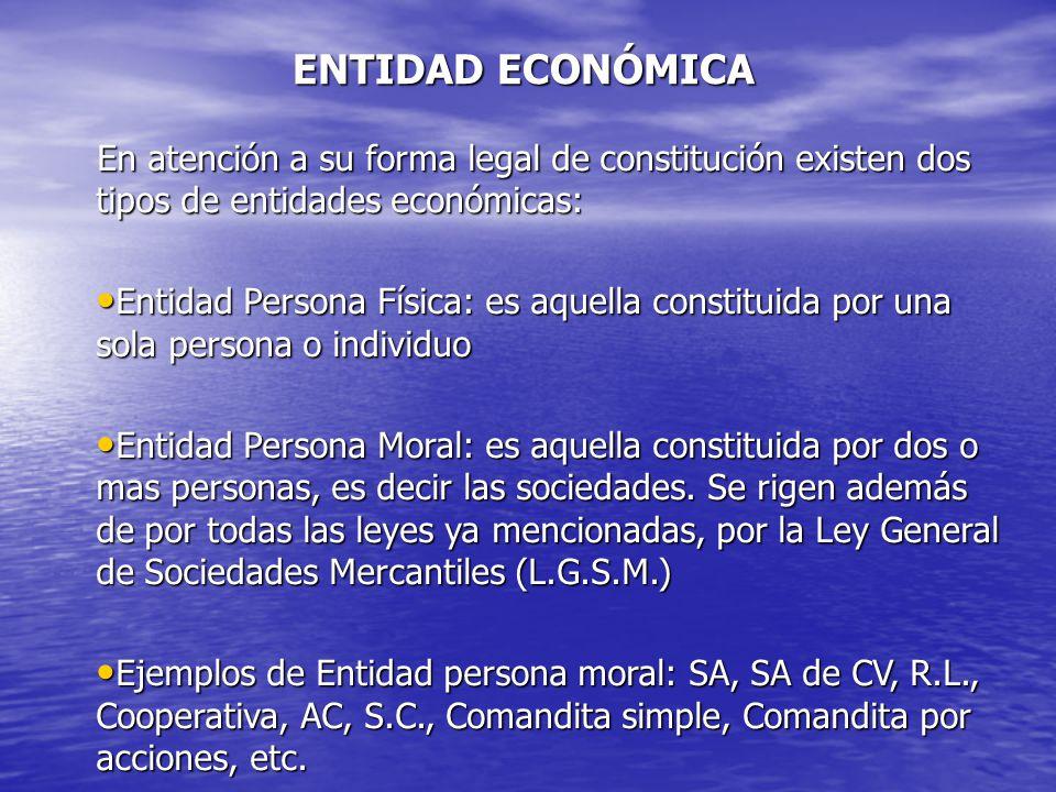 ENTIDAD ECONÓMICA En atención a su forma legal de constitución existen dos tipos de entidades económicas: