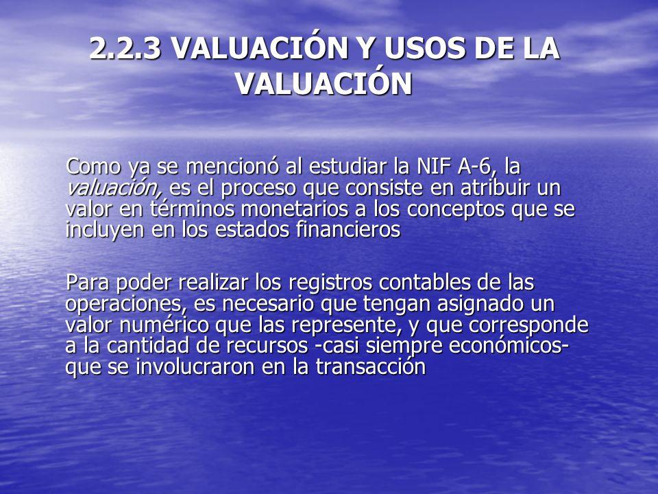 2.2.3 VALUACIÓN Y USOS DE LA VALUACIÓN