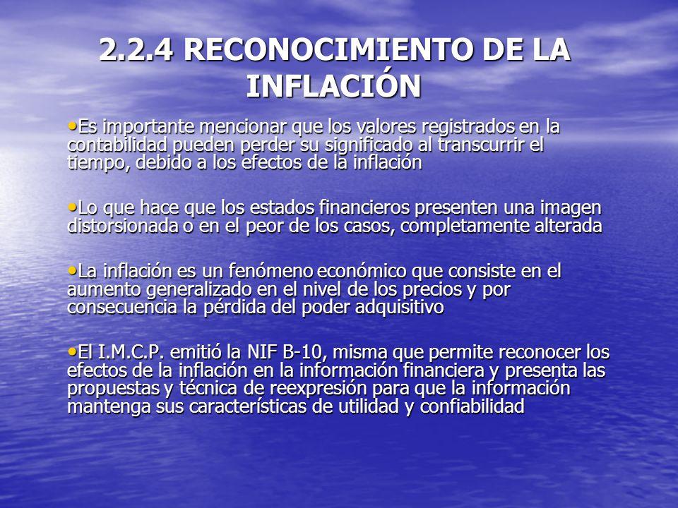2.2.4 RECONOCIMIENTO DE LA INFLACIÓN
