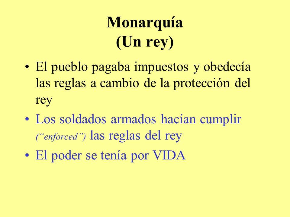 Monarquía (Un rey) El pueblo pagaba impuestos y obedecía las reglas a cambio de la protección del rey.