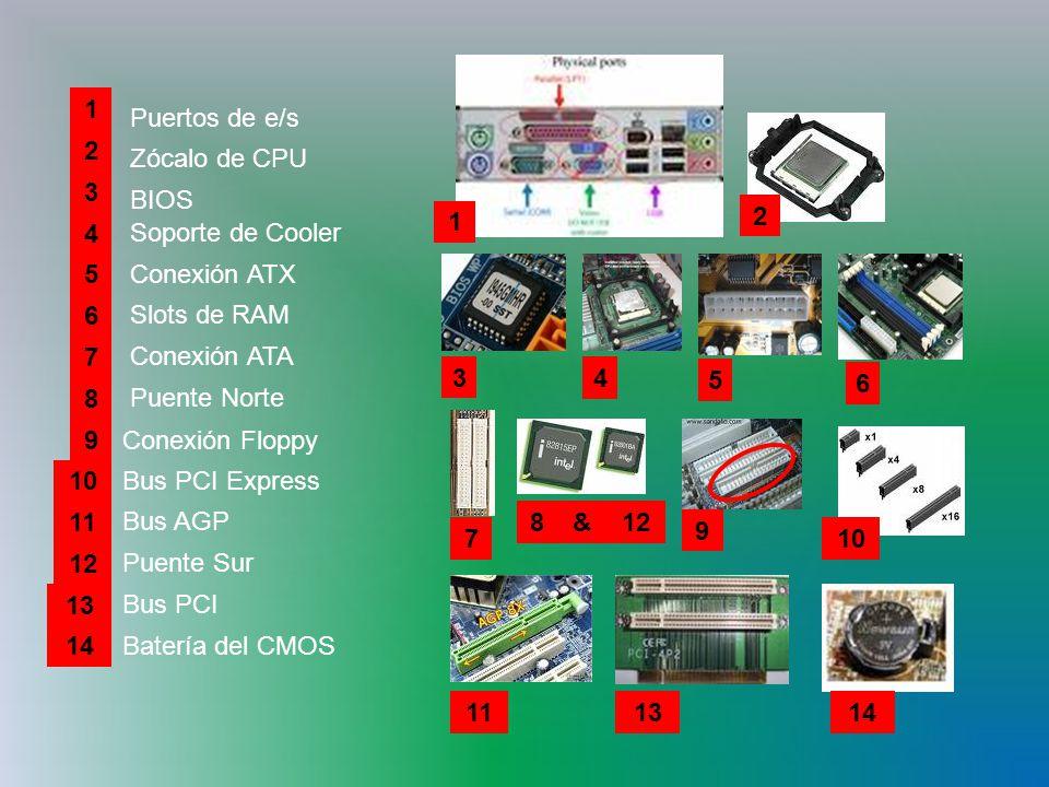 1 1. Puertos de e/s. 2. 2. Zócalo de CPU. 3. BIOS. 4. Soporte de Cooler. 5. Conexión ATX.
