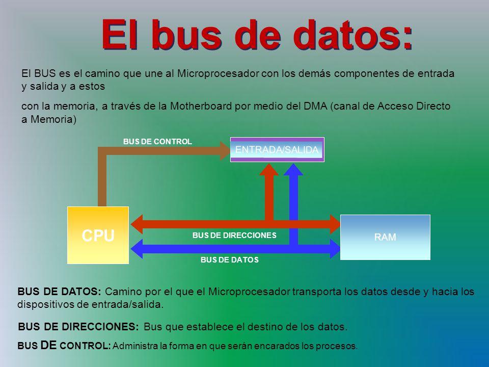 El bus de datos: El BUS es el camino que une al Microprocesador con los demás componentes de entrada y salida y a estos.