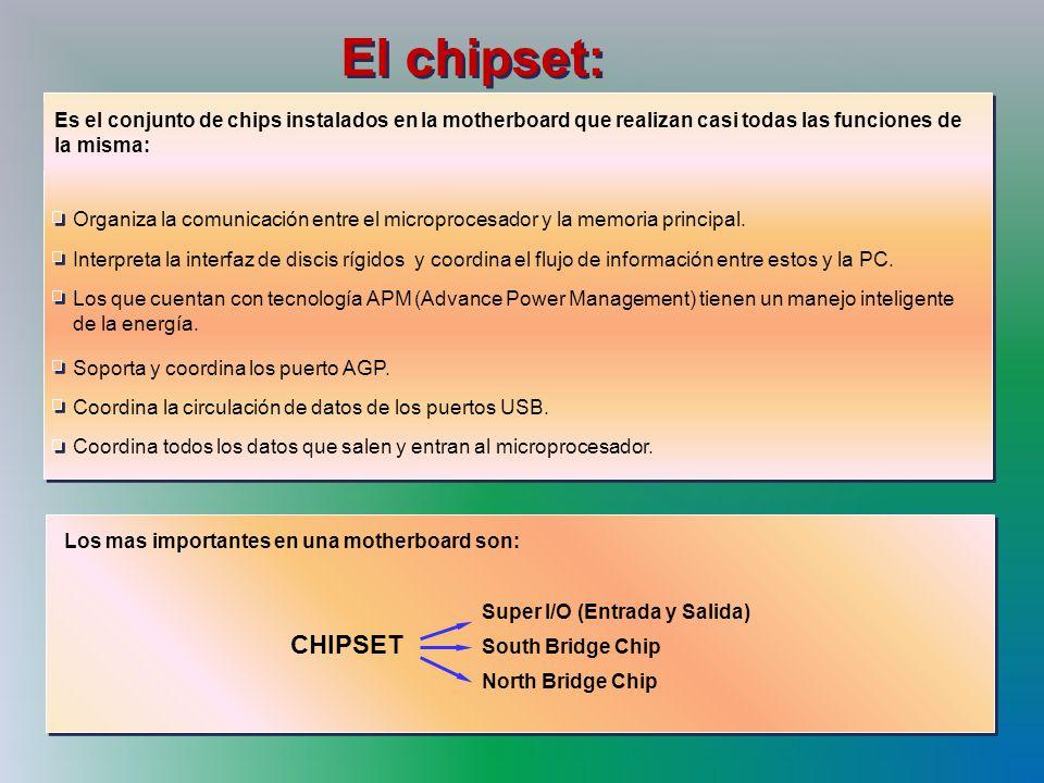 El chipset: Los que cuentan con tecnología APM (Advance Power Management) tienen un manejo inteligente.