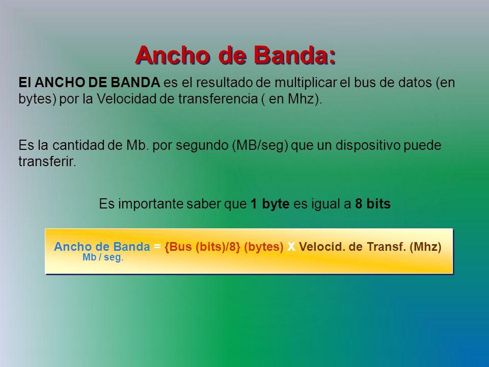Ancho de Banda: El ANCHO DE BANDA es el resultado de multiplicar el bus de datos (en bytes) por la Velocidad de transferencia ( en Mhz).