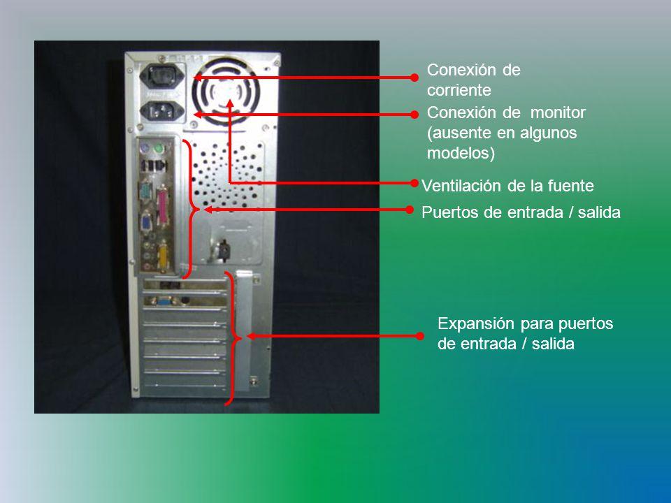 Conexión de corriente Conexión de monitor (ausente en algunos modelos) Ventilación de la fuente. Puertos de entrada / salida.