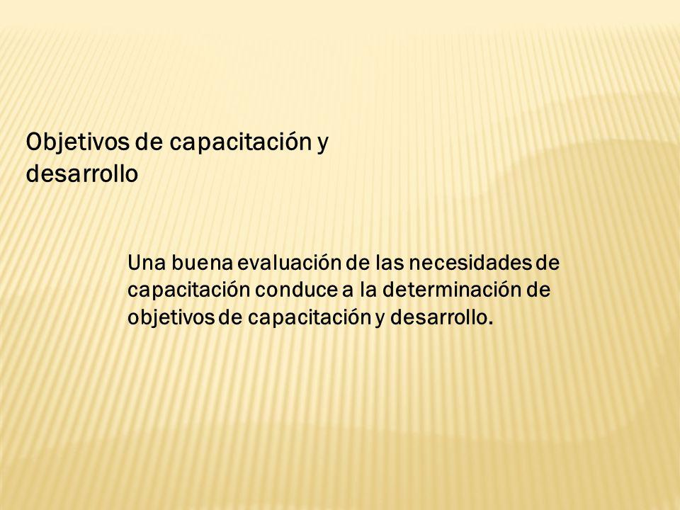 Objetivos de capacitación y desarrollo
