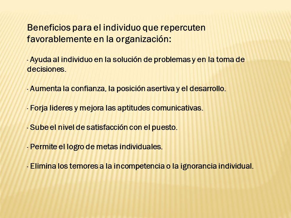 Beneficios para el individuo que repercuten favorablemente en la organización: