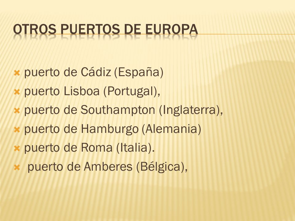 OTROS PUERTOS DE EUROPA
