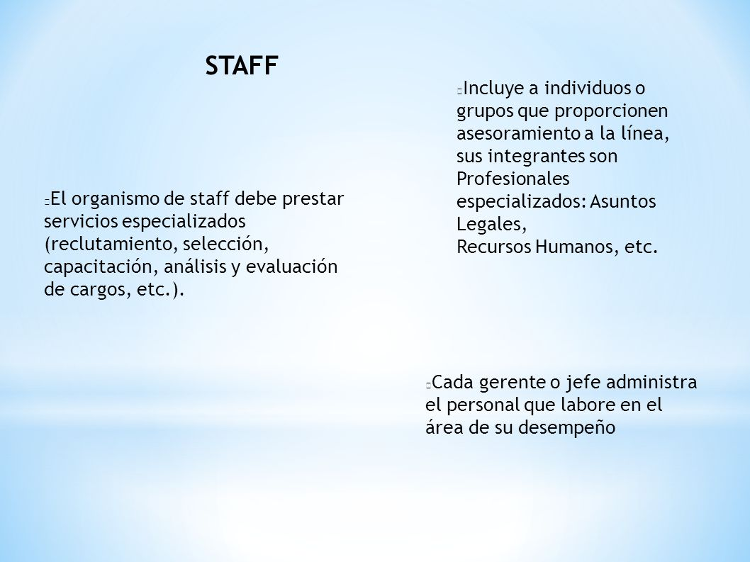 STAFF Incluye a individuos o grupos que proporcionen asesoramiento a la línea, sus integrantes son Profesionales especializados: Asuntos Legales,