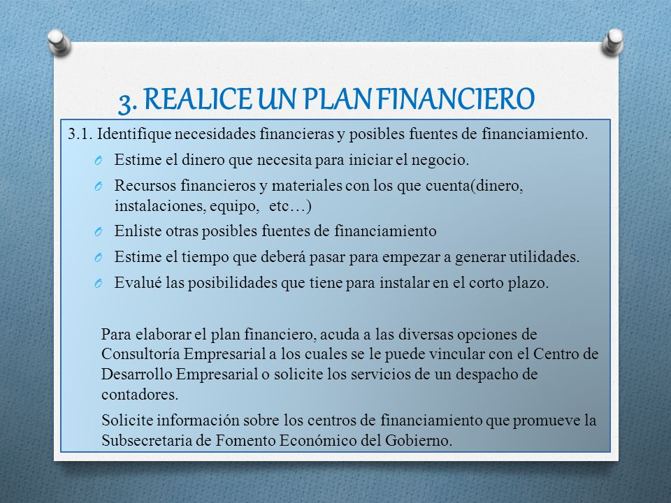 3. REALICE UN PLAN FINANCIERO