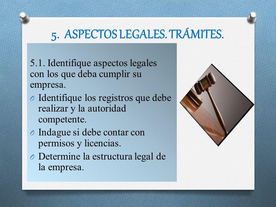 5. ASPECTOS LEGALES. TRÁMITES.