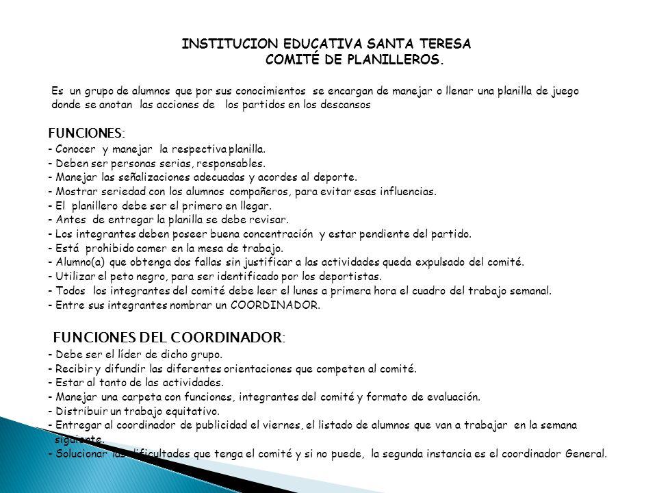 FUNCIONES DEL COORDINADOR: