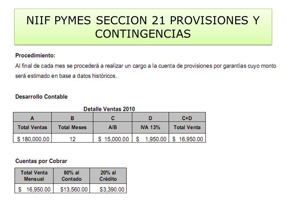 NIIF PYMES SECCION 21 PROVISIONES Y CONTINGENCIAS
