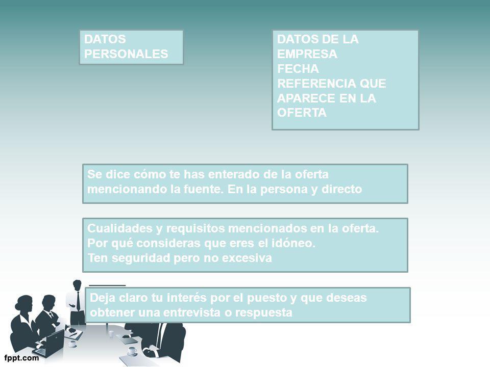 DATOS PERSONALES DATOS DE LA. EMPRESA. FECHA. REFERENCIA QUE APARECE EN LA OFERTA.