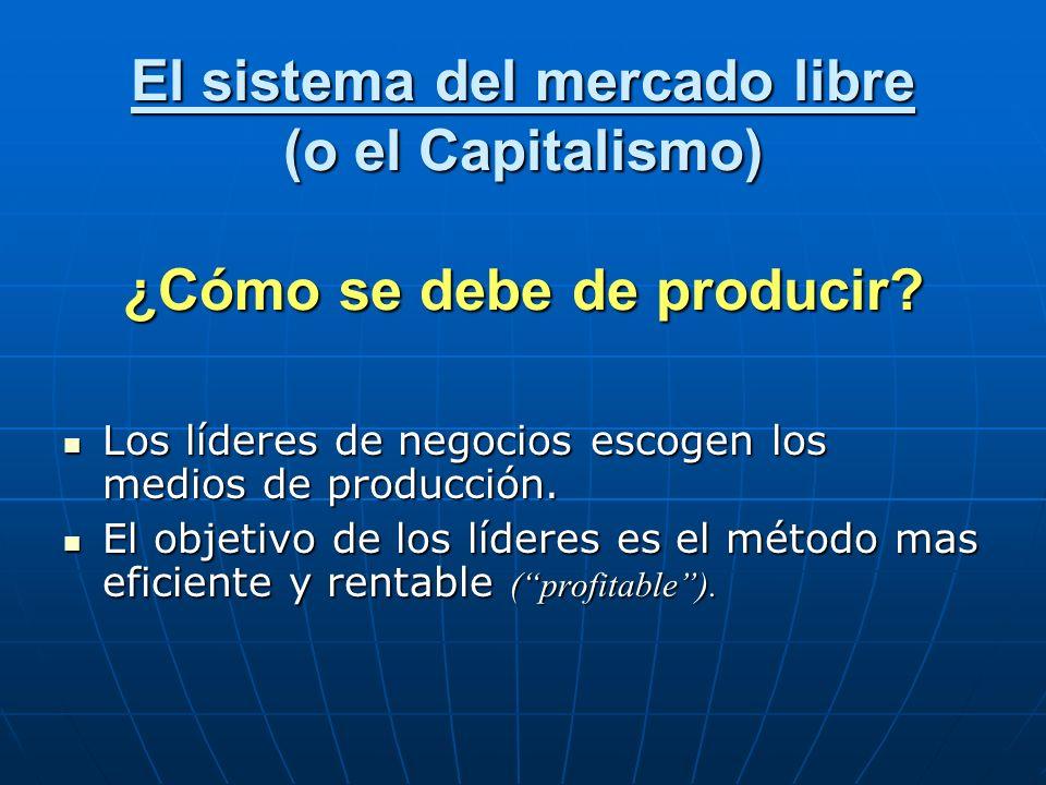 El sistema del mercado libre (o el Capitalismo) ¿Cómo se debe de producir