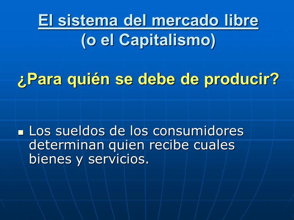 El sistema del mercado libre (o el Capitalismo) ¿Para quién se debe de producir