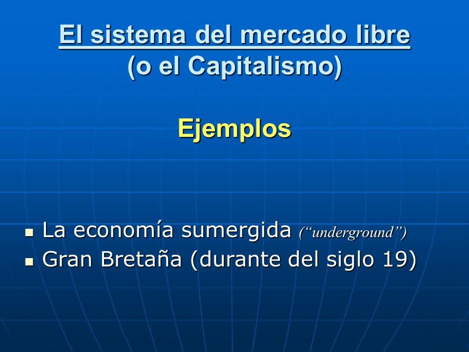 El sistema del mercado libre (o el Capitalismo) Ejemplos