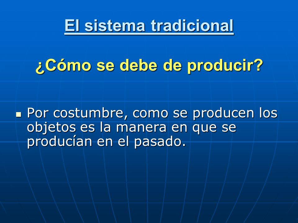 El sistema tradicional ¿Cómo se debe de producir