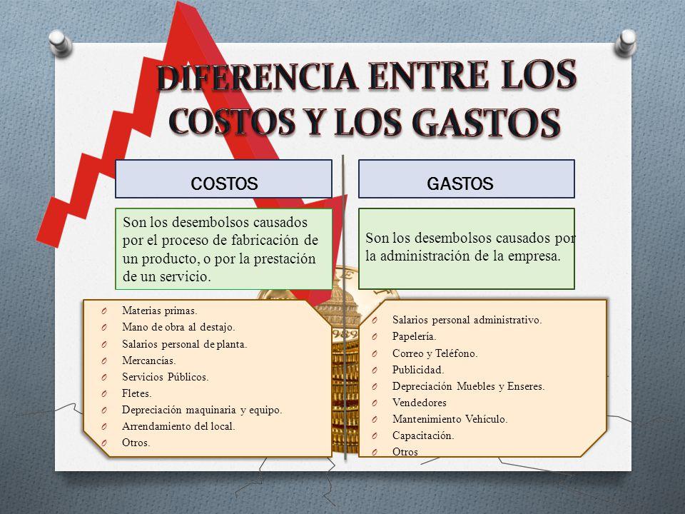 DIFERENCIA ENTRE LOS COSTOS Y LOS GASTOS