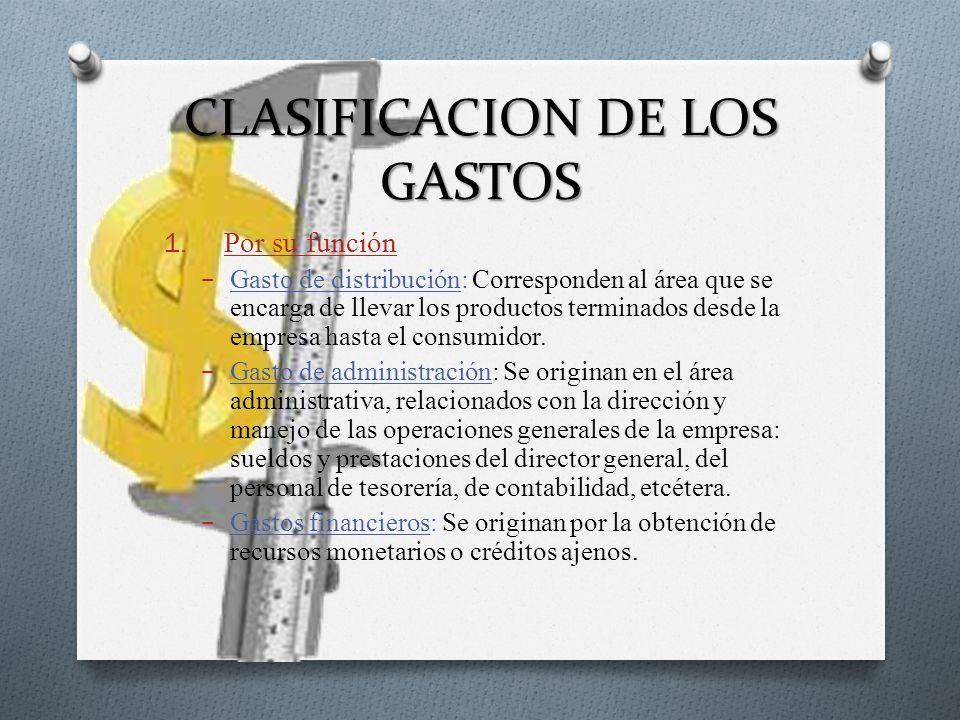 CLASIFICACION DE LOS GASTOS