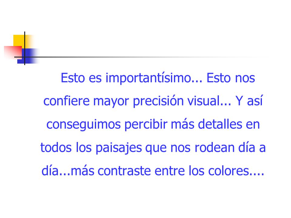 Esto es importantísimo. Esto nos confiere mayor precisión visual