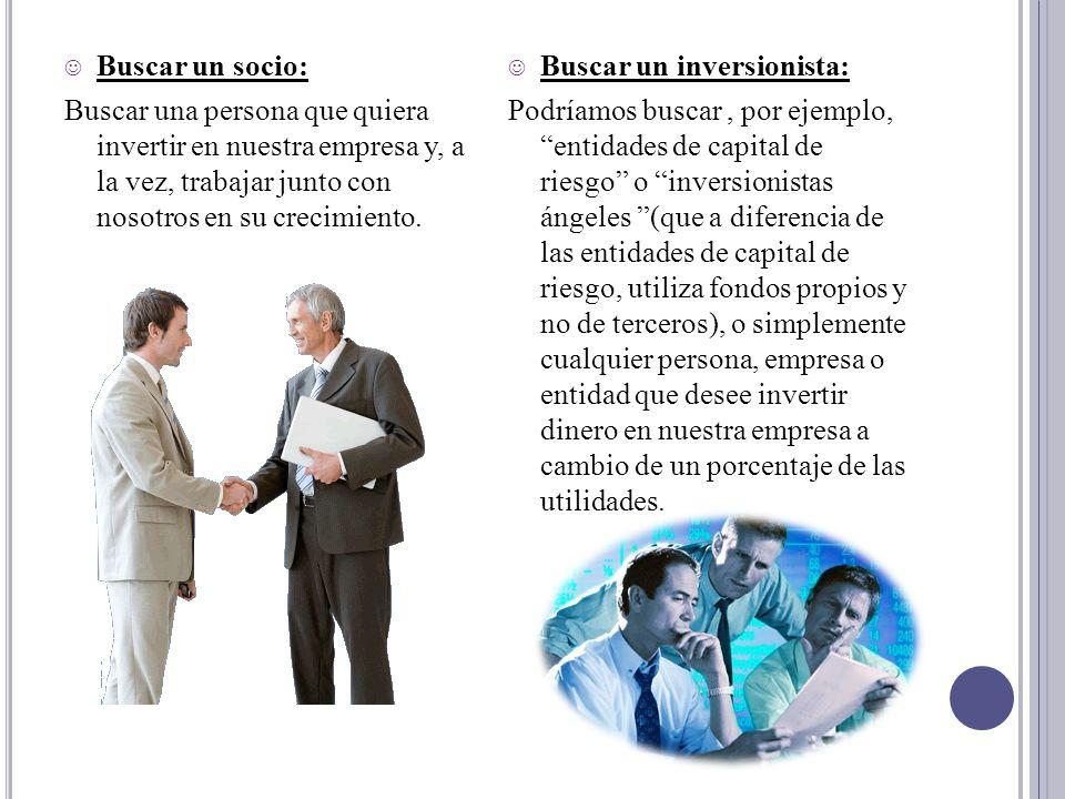 Buscar un socio: Buscar una persona que quiera invertir en nuestra empresa y, a la vez, trabajar junto con nosotros en su crecimiento.