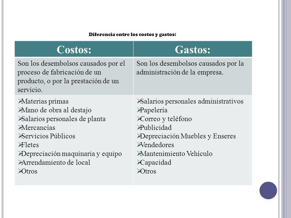 Diferencia entre los costos y gastos: