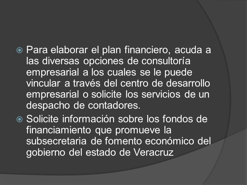Para elaborar el plan financiero, acuda a las diversas opciones de consultoría empresarial a los cuales se le puede vincular a través del centro de desarrollo empresarial o solicite los servicios de un despacho de contadores.