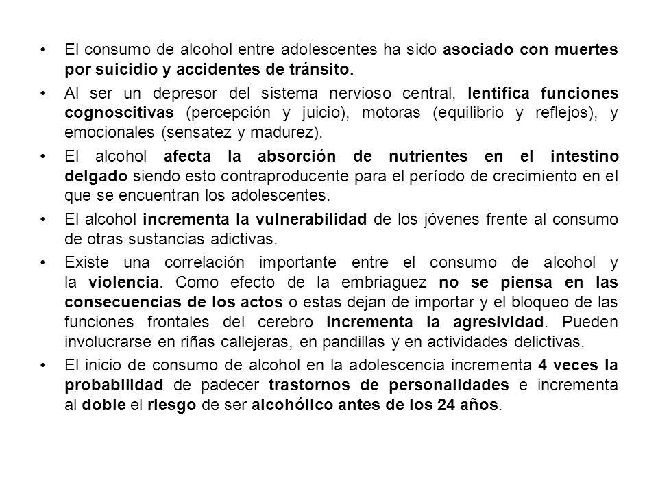 El consumo de alcohol entre adolescentes ha sido asociado con muertes por suicidio y accidentes de tránsito.