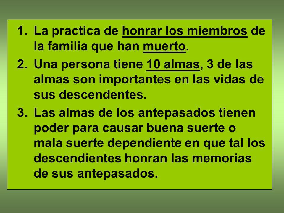 La practica de honrar los miembros de la familia que han muerto.