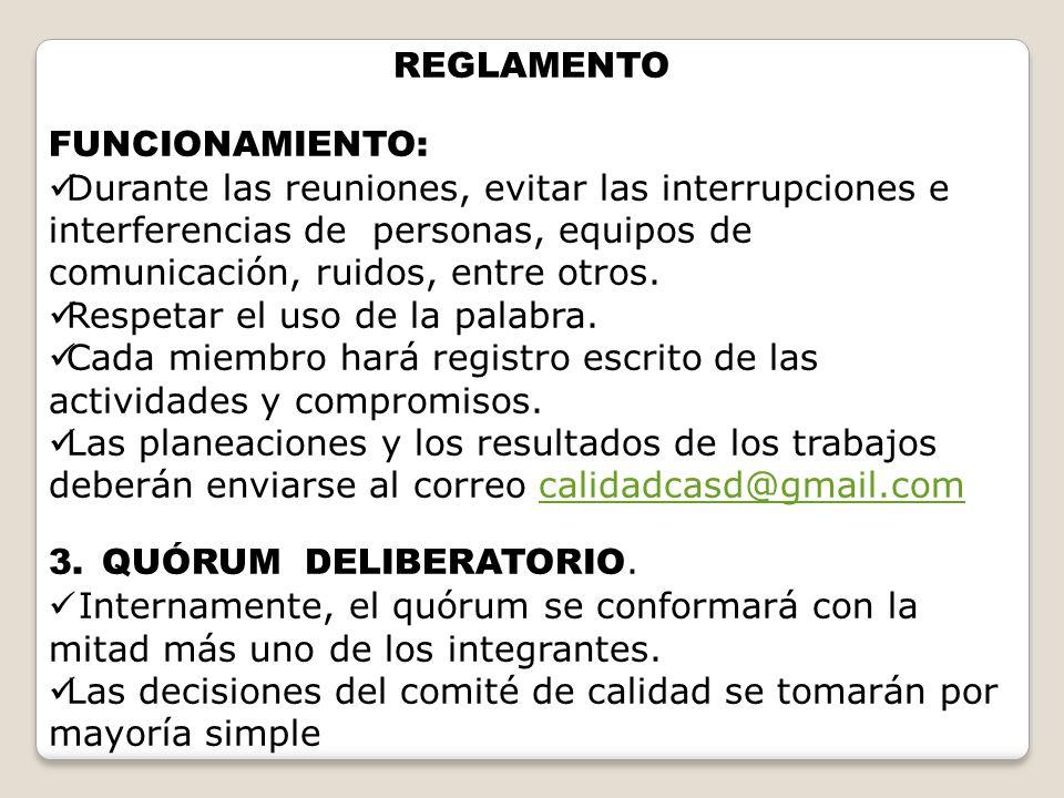 REGLAMENTO FUNCIONAMIENTO: